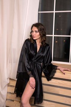 Black satin robe Bridesmaid robe Kimono robe Black lace robe Kimono  dressing gown Robes for women Lace dressing gown Womens satin robe ac2d5f147