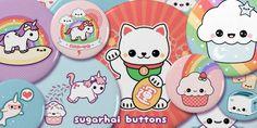 Super kawaii pinback buttons.
