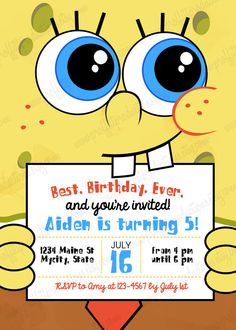 Type in your own wording to this spongebob invite diy modern spongebob birthday party invitation by proffittproductions solutioingenieria Choice Image