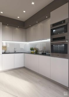 """For a small kitchen """"spacious"""" it is above all a kitchen layout I or U kitchen layout according to the configuration of the space. Kitchen Room Design, Luxury Kitchen Design, Kitchen Cabinet Design, Home Decor Kitchen, Kitchen Layout, Interior Design Kitchen, Home Kitchens, Kitchen Lamps, Kitchen Ideas"""