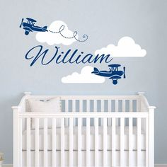 Airplane Wall Art Wallpapers Decal Vinyl Personalized Custom Name Clouds Decals Plane Kids Baby Nursery Boys Room Stickers