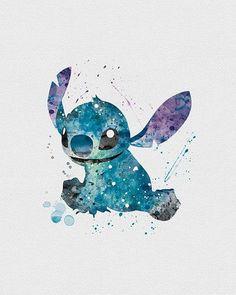 Stitch, Lilo & Stitch Watercolor Art - VIVIDEDITIONS: Watercolor Art, Anime Drawings Doodles, Watercolor Disney Tattoo, Watercolor Tattoo Stitch, Disney Art, Lilo And Stitch Drawings, Lilo And Stitch Tattoo, Stich Tattoo, Disney Princess Watercolor
