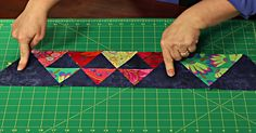 This bold, bright Triangle Party Quilt is simply mesmerizing! Quilting Tips, Quilting Tutorials, Machine Quilting, Quilting Projects, Quilting Designs, Sewing Projects, Hand Quilting, Quilt Block Patterns, Quilt Blocks