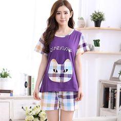 a6d78ae046 Summer Women s Pajama Sets Girl Cartoon Sleepwear Female Mujer Pijama  Feminino Cotton Pajamas Totoro Pyjamas Women Lounge 3XL