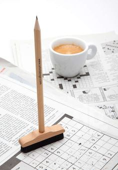 Peculiar Broom-Shaped Pencils - This Clever Pencil Design Has an Eraser Broom Attachment