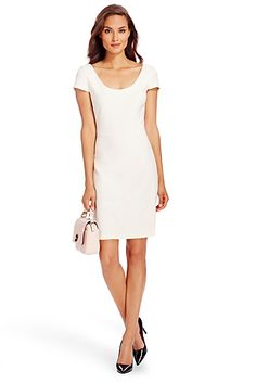 DVF Monica Pleated Ceramic Shift Dress In Powder