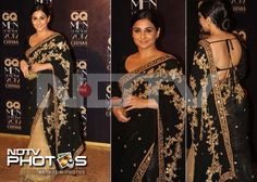 Vidya Balan stole our hearts with her black and beige embroidered Sabyasachi sari worn with a backless blouse. We like!