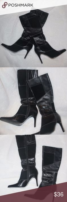"""Super Fab Black Patchwork Boots I Love these boots and I hope someone else can enjoy them - They are soft and warm on the inside (fit my calves pretty snug so not extra wide at the top) and the outside has the beautiful leather and suede patchwork.  These ladies are in excellent condition! - Boots from top to bottom of heel are approximately 19"""" and I think they fit a half-size (7.5) smaller because 8's are usually a little big on me but these are nice and snug - Happy to answer any…"""