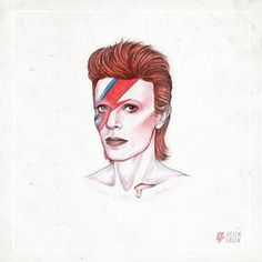 "1973 ""Here Bowie is in the iconic 'Aladdin Sane' makeup by Pierre La Roche."" David Bowie Helen Green 1973"