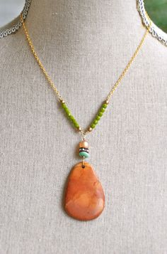 Montana. Earthtone Jasper gemstone pendant,rhinestone beaded necklace. Tiedupmemories
