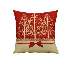 "De Noël 16/"" RED /& WHITE STAG Coussin Décoratif Couvre Oreiller Sham Made in UK"