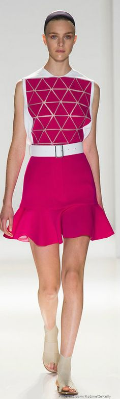 Victoria Beckham | S/S 2014 uses geometric shaped and bold colors first seen during the mid 60s with a rather short hem