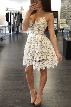 Prom Dress For Teens, 2019 Spaghetti Straps A Line Homecoming Dresses Lace Above Knee Length, cheap prom dresses, beautiful dresses for prom. Best prom gowns online to make you the spotlight for special occasions. Unique Homecoming Dresses, Prom Dresses For Teens, Girls Dresses, Summer Dresses, Graduation Dresses, Outfit Summer, Casual Summer, Wedding Dresses, Beach Casual