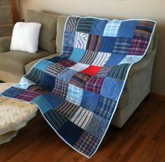 I want to make a quilt from some of my Dad's clothes. A great way to honor those no longer with us.each square holds a treasured memory! Flannel Quilts, Plaid Quilt, Shirt Quilts, Denim Quilts, Memory Pillows, Memory Quilts, Crochet Baby Clothes Boy, Blue Jean Quilts, Memory Crafts