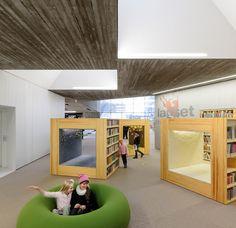 Children's area, shuttered concrete, woven pattern on carpet, mirroring treatment on facade - also shadow pattern? http://www.designboom.com/architecture/jkmm-architects-alvar-aaltos-seinajoki-city-library-expansion/