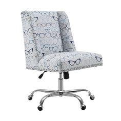 Linon Finn Glasses Office Chair, Blue