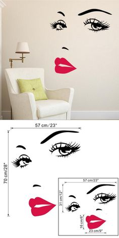 Home Decor | Sexy girl lip eyes wall stickers living bedroom decoration – US $2.17
