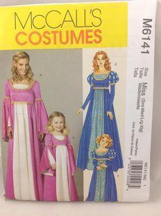 2 McCall's Patterns M6141, Renaissance Adult & Kids, both uncut Medieval Princess Costume