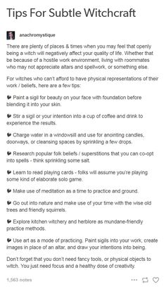 Tips for Subtle Witchcraft from anachromystique on Tumblr.com
