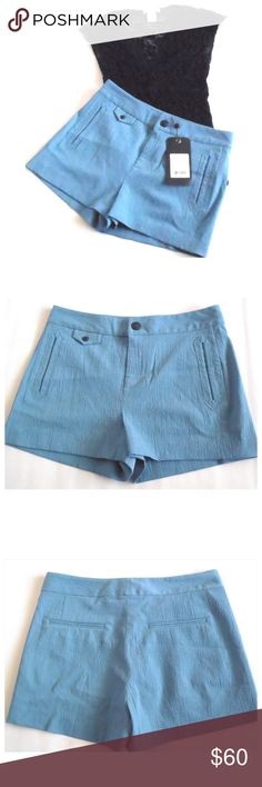 "Rag & Bone Tatiana Shorts Blue with front zip fly, side and back pockets,  98% Wool 2% Elastane.  Size 6 measures about 15 1/2"" across the waistband and Size 8 is 16"".  Their inseams are 2 1/4"" and leg opening 25"".  The last picture is the same shorts but in Gray.  No trades. rag & bone Shorts"