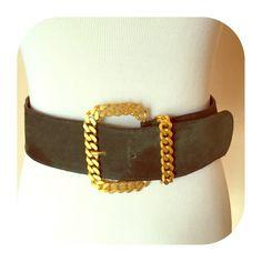 I. Magnin vintage suede belt Green suede large chain link gold buckle I.magnin Accessories Belts