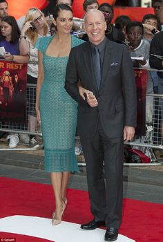 The actor and his stunning wife Emma Heming made a pit-stop in Studio City, Los Angeles, on Tuesday to change their one-year-old daughter Mabel. Emma Heming, Bruce Willis, One Year Old, Studio City, Celeb Style, Green Dress, Love Her, Red Carpet, Daughter