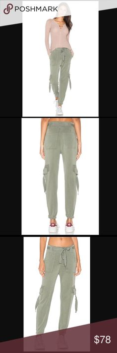 """NWT Free People Cannon Cargo Pants in Green It's new with tag. Drapey knit pants featuring an effortless belt at the waist and slouchy cool girl pocket accents allover. Front button closures. Elastic band at the ankle for a comfortable fit.  92% Modal, 8% Polyester Machine Wash Cold  Waist: 34"""" = 86.36 cm Rise: 12"""" = 30.48 cm Free People Pants Track Pants & Joggers"""