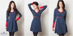 Jerseykleid Toni von Milchmonster Toni ist ein figurbetontes Basiskleid mit Raglanärmeln , welches in unterschiedlichsten Varianten genäht werden kann: als schnellgenähtes sportliches Kleid, mit betonendem Taillenbund, mit...