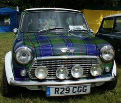 Classic Mini Cooper with Tartan paint job Classic Mini, Classic Cars, National Tartan Day, Tartan Kilt, Scottish Tartans, Scottish Plaid, Transporter, Cool Cars, Dream Cars