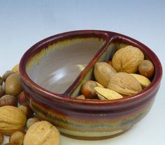 Handmade pottery bowl with divider; perfect for nuts and shells, chips and salsa, etc.