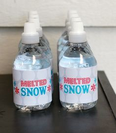 Melted Snow water bottles at Christmas party <3
