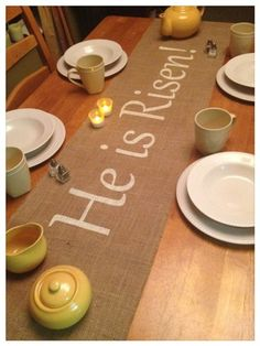 Burlap Table Runner with He is Risen – Easter Holiday decorating Home decor Burlap Table Runner & wide Christian Holidays, Christian Christmas, Christian Easter, Diy Holiday Gifts, Holiday Fun, Easter Table Decorations, Easter Decor, Easter Ideas, Easter Centerpiece