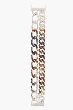RAF SIMONS Silver two-chain bracelet