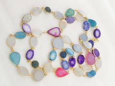 Versatile Sterling silver and Multicolor Druzy Necklace Length 40""