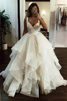 Wedding Dress Ball Gown White v neck tulle long prom dress, white evening dress - White v neck tulle long prom dress, white evening dress, Customized service and Rush order are available Long Wedding Dresses, Elegant Wedding Dress, Formal Evening Dresses, Elegant Dresses, Bridal Dresses, Wedding White, Modest Wedding, Fall Wedding, Formal Gowns