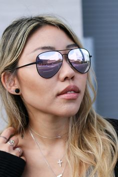 4d3c304e91 Lena effortlessly styles her Black x Purple aviator sunglasses from  Marsquest! Click through to see