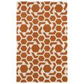 Hand-tufted Cosmopolitan Geo Orange/ Ivory Wool Rug (8' x 11') | Overstock.com Shopping - The Best Deals on 7x9 - 10x14 Rugs