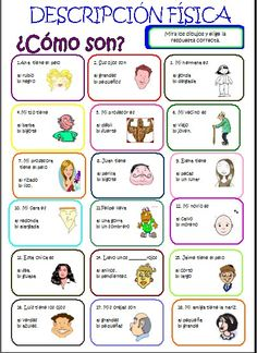 Risultati immagini per adjetivos descripcion persona Spanish Grammar, Spanish Vocabulary, Spanish Words, Spanish English, Spanish Language Learning, How To Speak Spanish, Learn Spanish, Spanish Worksheets, Spanish Teaching Resources
