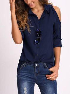 navy blue button up shirt, cold shoulder trendy summer navy t shirt top, blue summer collared blouse - Lyfie