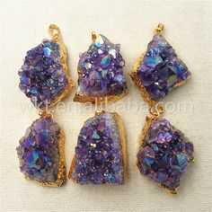 WT-P972 Aamzing Natural Amethyst With Flame Angel Color Jewelry Stone,24k Gold Dipped Beautiful Purple Cluster Amethyst Pendant For Gift by WKTjewelry on Etsy