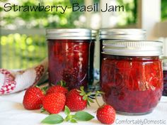 Strawberry Basil Jam (no sugar added) from ComfortablyDomestic.com