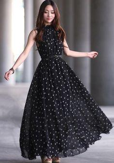 Elegant Black Tank Sleeveless Chiffon Dress on Luulla Short Beach Dresses, Trendy Dresses, Cute Dresses, Beautiful Dresses, Casual Dresses, Fashion Dresses, Maxi Dresses, Dress Long, Black Dresses For Women