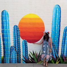 This mural in Scottsdale Old Town has just been painted to celebrate everything - which, if you don't know, is Murals Street Art, Graffiti Art, Street Wall Art, Garden Mural, Garden Wall Art, Scottsdale Old Town, Scottsdale Arizona, Instagram Wand, Happy City