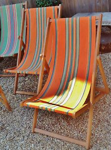 Matching Pair Of Quirky Vintage Amersham Candy Stripe Reclining Deck Chairs