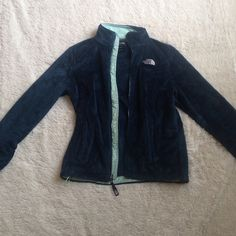 Teal fuzzy North Face A dark real with turquoise lining north face. Fuzzy soft material. No defects or stains. North Face Jackets & Coats