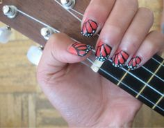 ukulele & monarch butterfly nails! beautiful but so not practical for actually playing!