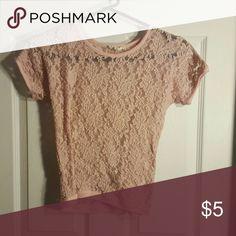 Light pink lacy tee Flower pattern Tops Tees - Short Sleeve