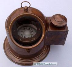 Vintage Brass Nautical Binnacle Compass Oil Lamp / Nautical Compass Marine Repro Compasses photo