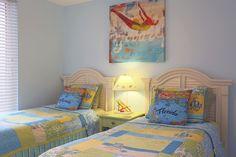 Bedroom 2 has twin beds