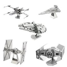 Metal Earth 3D Model Kits - Star Wars Set of 5 - Millennium Falcon - X-Wing - Imperial Star Destroyer - TIE Fighter - Darth Vader's TIE Fighter Metal Earth http://www.amazon.com/dp/B00VO3E8HI/ref=cm_sw_r_pi_dp_-ivxwb0J3G2T6